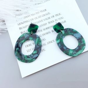 Green Acrylic Statement Earrings Oval Emerald